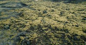 Vogelperspektive von Touristen auf dem Lavagebiet in Island Hubschrauber, der weg von Freunden, selfie auf Brummen sich bewegt Sc stock video
