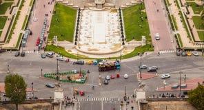 Vogelperspektive von Trocadero-Quadrat in Paris stockfoto