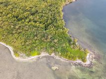 Vogelperspektive von Tropeninsel vor Küste von Belize Stockfotos