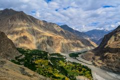 Vogelperspektive von Turtuk-Dorf in Kaschmir lizenzfreies stockfoto