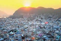 Vogelperspektive von Vijayawada-Stadt in Indien Lizenzfreie Stockfotografie