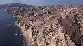 Vogelperspektive von Vlihada-Strand, Santorini-Insel stock footage