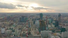 Vogelperspektive von Warschau-dawntown, Palast der Kultur, Polen stock video footage