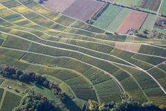Vogelperspektive von Weinbergen in Süd-Deutschland stockbild