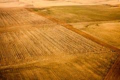Vogelperspektive von Weizen-Bauernhöfen Lizenzfreies Stockbild