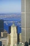 Vogelperspektive von Welthandels-Türmen, New York City, NY Stockfotografie