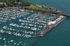 Vogelperspektive von Westhaven-Jachthafen in Auckland-Ufergegend, neuer Zea Stockbilder