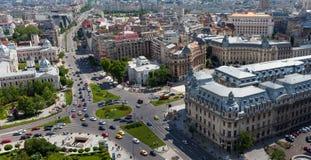 Vogelperspektive von zentralem Bukarest lizenzfreie stockbilder