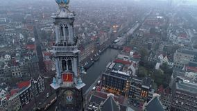 Vogelperspektive Westerkerk-Kirchturm stock footage