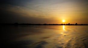 Vogelperspektive zum Niger in Niamey bei Sonnenuntergang Niger Stockfoto