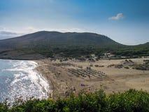 Vogelperspektive zum sandigen Strand in Majorca Stockfotografie
