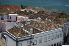 Vogelperspektive zur Mitte der Stadt Faro, Portugal Stockfotografie