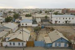 Vogelperspektive zur Stadt von Aralsk, Kasachstan Lizenzfreies Stockfoto