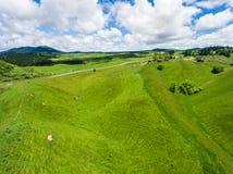 Vogelperspektiveschäfereihügel, Rotorua, Neuseeland stockfoto