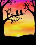 Vogels bij zonsondergang vector illustratie