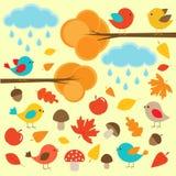 Vogels in de herfstbos Stock Foto