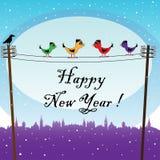 Vogels die het Nieuwjaar wachten Stock Afbeeldingen