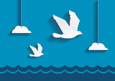 Vogels die over de oceaan vliegen royalty-vrije illustratie