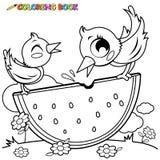 Vogels die pagina van het watermeloen de kleurende boek eten vector illustratie