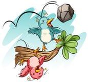 Vogels door de steen worden geraakt die stock illustratie