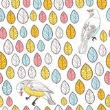 Vogels en bladeren. Naadloze Achtergrond. Hand getrokken vector illustr Stock Fotografie