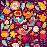 Vogels en bloemen vector illustratie