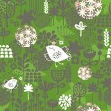 Vogels en bloemen naadloos patroon. Royalty-vrije Stock Foto's