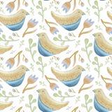 Vogels en bloemen naadloos patroon royalty-vrije illustratie