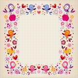 Vogels en bloemengrens Royalty-vrije Stock Afbeelding