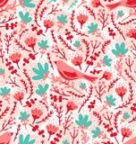 Vogels en bloemenpatroon royalty-vrije illustratie