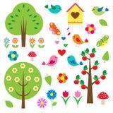 Vogels en bomen Stock Foto