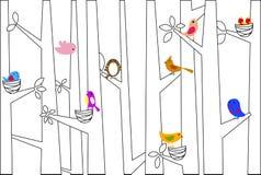 Vogels en boom royalty-vrije illustratie