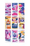 Vogels en dieren de affichereeks, ontwerpelement met slang, koala, rinoceros, lama, struisvogel, leeuw, olifant, aap, vogel kan stock illustratie