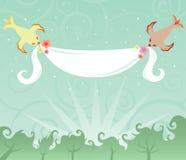 Vogels en een Banner Royalty-vrije Stock Afbeelding