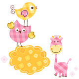 Vogels en giraf vector illustratie