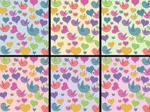 Vogels en hartenpatroon Stock Foto's