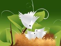 Vogels en Nest 01 Royalty-vrije Stock Afbeeldingen