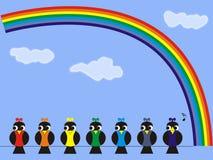 Vogels en regenboog stock illustratie
