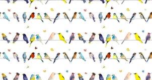 Vogels en vlinders De dageraadillustratie van de waterverfhand royalty-vrije illustratie