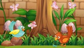 Vogels en vlinders in de tuin royalty-vrije illustratie