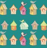 Vogels en vogelhuizen stock illustratie
