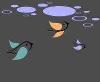 Vogels en wolken vector illustratie