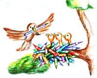 Vogels in het nest Royalty-vrije Stock Afbeeldingen