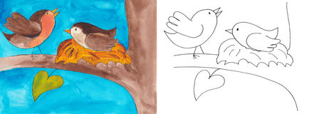 Vogels in het nest vector illustratie