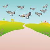 Vogels in het platteland (vector) royalty-vrije illustratie