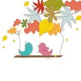 Vogels in liefde. De achtergrond van de herfst Royalty-vrije Stock Foto's
