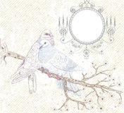 Vogels in liefde. Illustratie in retro stijl Royalty-vrije Stock Foto