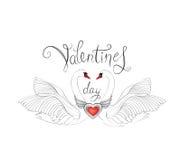 Vogels in liefde met gevleugelde rode hartdecoratie en met de hand geschreven l Stock Fotografie