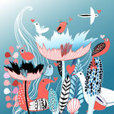 Vogels in liefde op bloemen Stock Fotografie