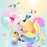 Vogels in liefde op bloemen Stock Afbeelding
